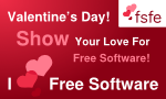 "Banner with hearts saying ""Show you love for Free Software – I love Free Software!"""