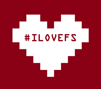 pixelated heart with the ilovefs hashtag