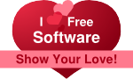 "Transparent heart with ""I love Free Software! – Show your love"""