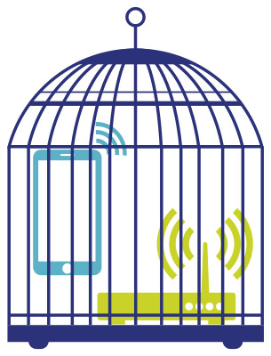 a bird cage with a router and a mobile phone imprisoned, both sending radio waves