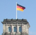 Part of the Reichstag and the German flag