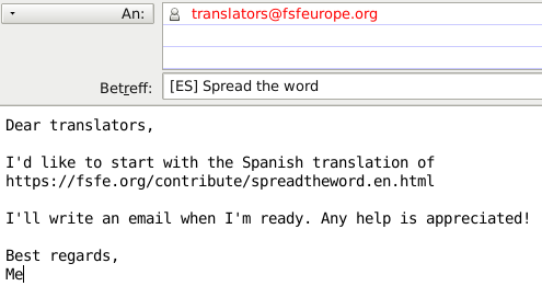 Write an email to the translators list