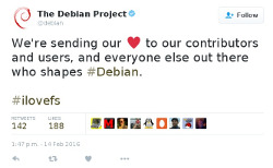 Debian sending their love to contributors and users