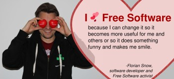 Florian Snow with a love message to Free Software
