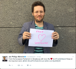 Member of the European Parliement, Jan Philipp Albrecht, sending some love to Free Software